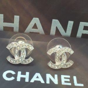 Authentic Chanel Swarovski crystal studs